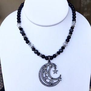 Silverskylight Jewelry - Genuine onyx , herkimer diamonds & cz moon choker